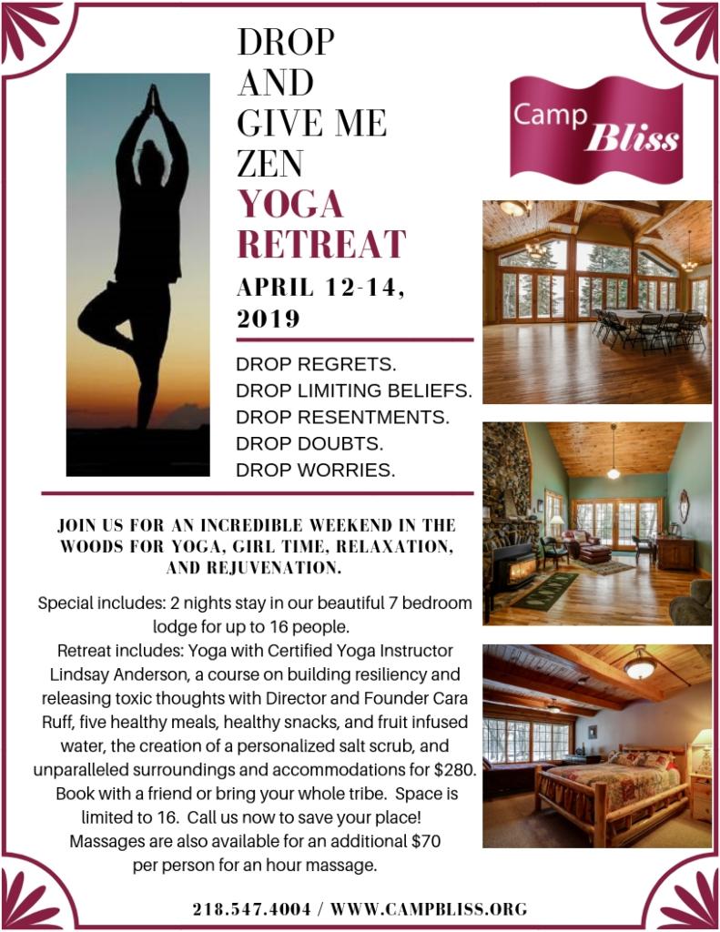 Camp Bliss Yoga Retreat Flyer